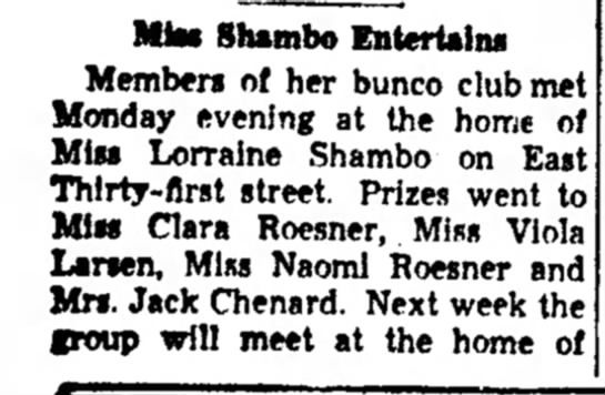 Aunt Lorraine bunco club Chgo Hts Star 11/4/1938 - MJes Shambo Entertains Members of her bunco...