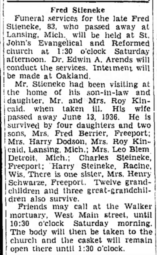 Frederick Steineke obit. 20 Mar 1941 - Fred Stieneke Funeral services for the late...