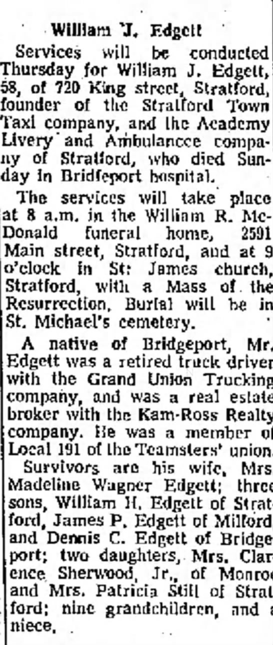 William J. Edgett  Obit
