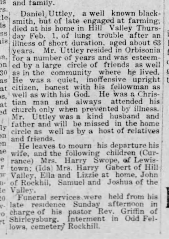 Daniel Uttley obit-Mt. Union Times-09 Feb 1912 page 5 - on Sn at 20 sorrow- , , and family. Daniel,...