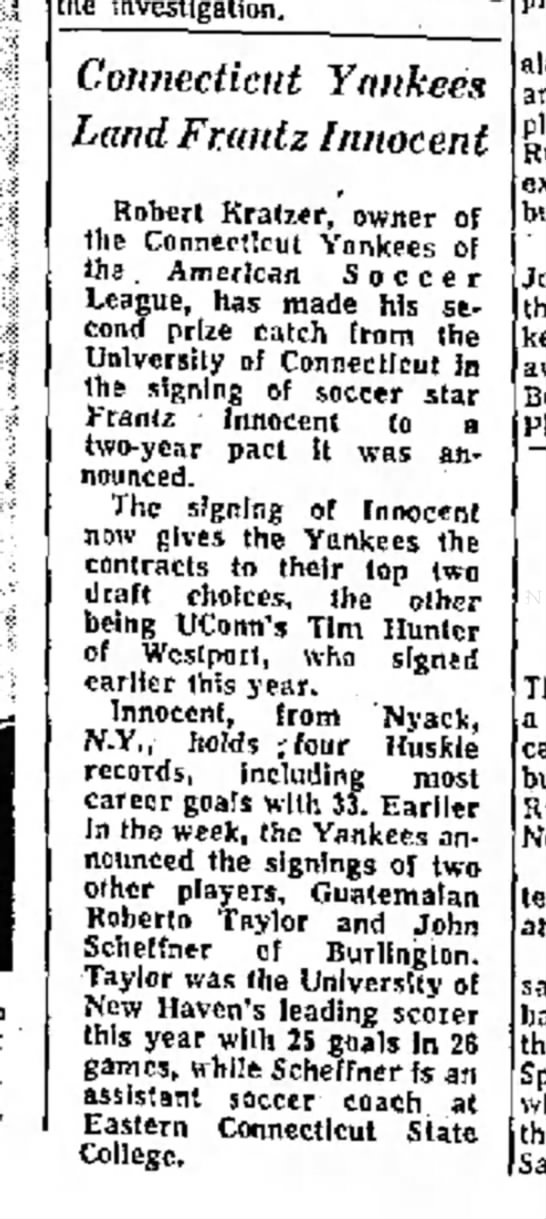 Yankees March 3, 1975 - Connecticut Yankee* Land Faint z Innocent...