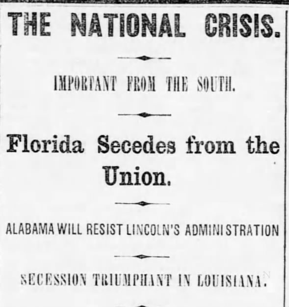 January 9 in Headlines: Florida Secedes