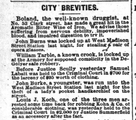 1877 28 Feb Koch, Louis robbing of Kohn & Co. - CITY' BREVITIES. , ' Boland, the well-known...