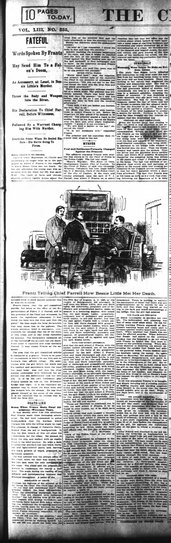 11 September 1896 Cincinnati Enquirer - 10 PAGES TO-DAY. rm E, G vol; Lin; ko. 255....