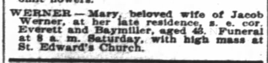 Mary Downes Werner Obituary 1896 - WERNEK Mary, beloved wife of Jacob nnu aarr....