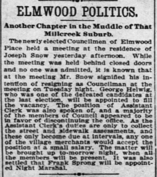 - ELMWOOD POLITICS. Another Chapter la tbe Muddle...
