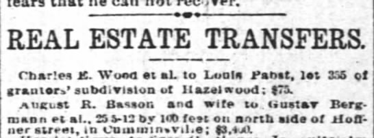 Real estate transfer AR & Marie sell property in Cumminsville 18 June 1892 - can not recover. REAL ESTATE TRANSFERS. Charles...