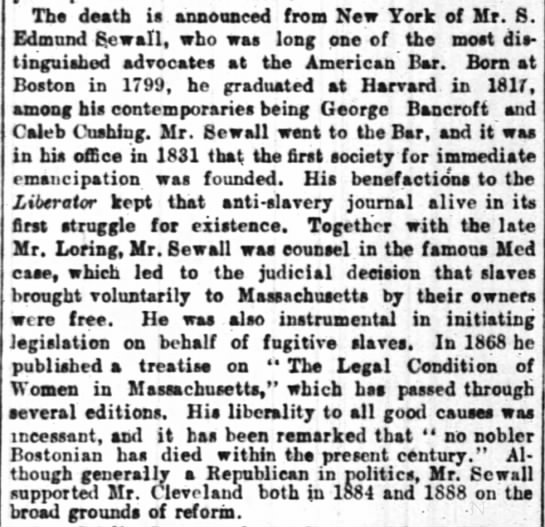 Edmund Sewall dies (1799-1888) - Tha death is announced from New York of Mr. S...