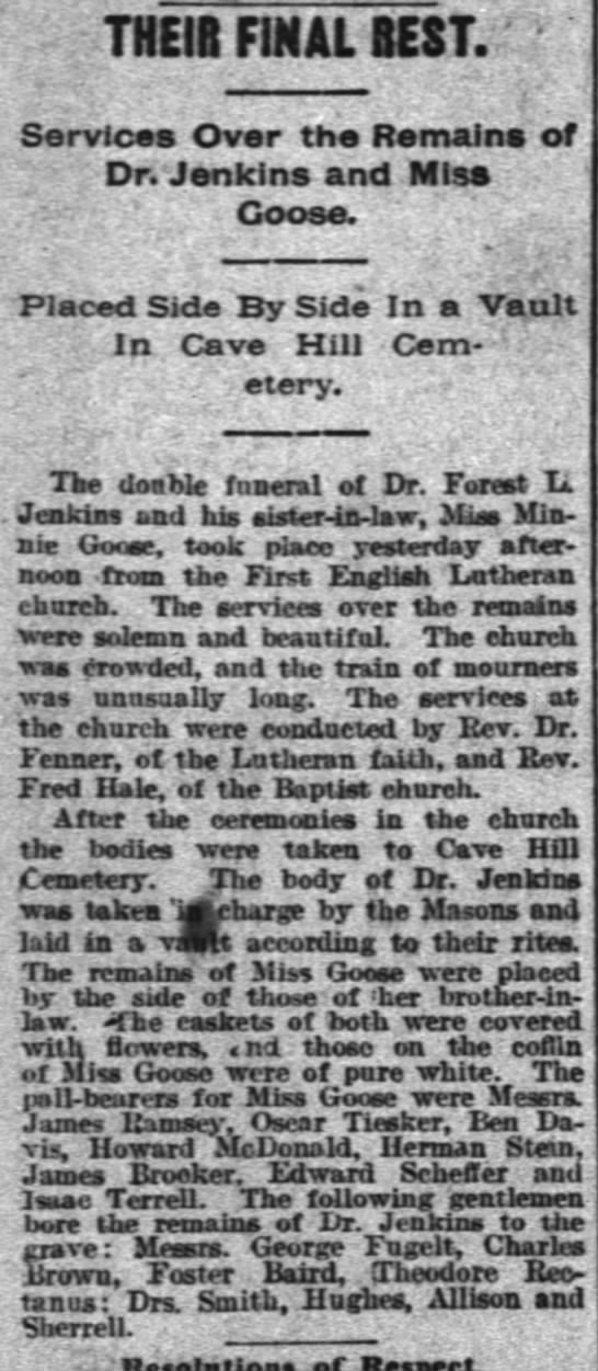 Dr Jenkins and Miss Minnie Goose  Aug 8, 1890 burial in Louisville, Kentucky - THE18 FINAL BEST. ; Services Over the Remains...