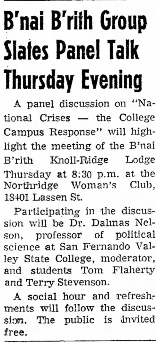 National Crisis Discussion Dalmas Nelson - B'nai B'rith Group Slates Panel Talk Thursday...
