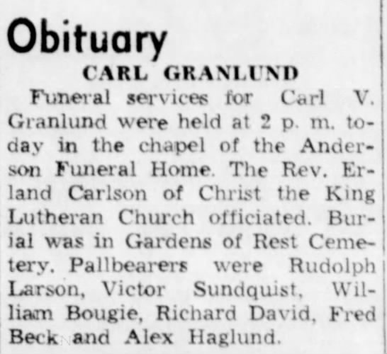 - Obituary CARL GRANT ! NO Funeral services for...