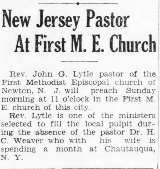 John Giles Lytle-new pastor - New Jersey Pastor At First M. E. Church Rev....
