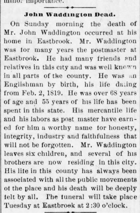 Feb14 1887 Daily City News p. 3 - Jolin Waddiii|;:ton Dead. On Sunday morning the...