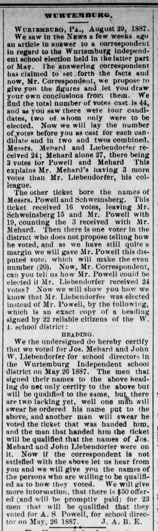 Joseph Mehard - Election For School Board = The Daily City News of New Castle, PA. - Aug. 31, 1887  - WlIRTEiUlllJKG. WURTKMBURG, P a ., August 29,...