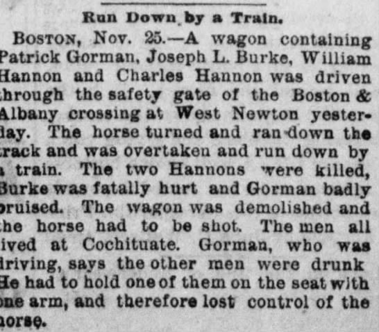 - Ran Down by a Train. B oston , Nov. 25.—A wagon...