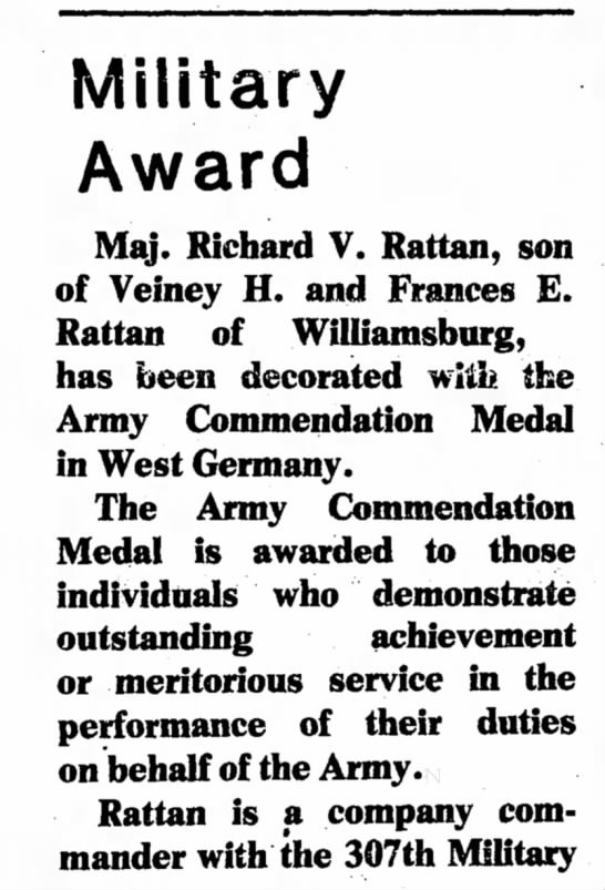 Springer News-Bulletin (Springer, New Mexico) - Award Maj. Richard V. Rattan, son of Veiney H....