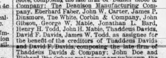 1890 - who's who managing the dissolution of Thaddeus Davids & Co. - nttal- fiUx l.pmpauv; tue tyepqiaun...