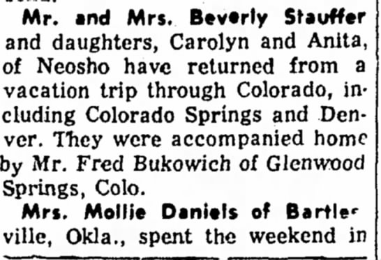 Bukowich, Fred and Stauffer Family - Mr. and Mrs* Btvtrty Staufftr and daughters,...