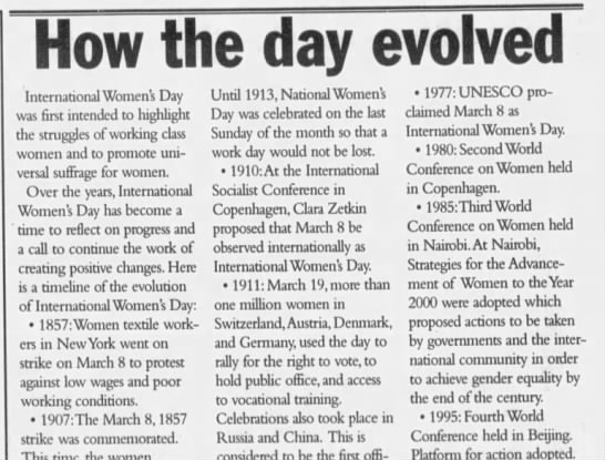 A History of International Women's Day - How th e day evolvei International Women's Day...