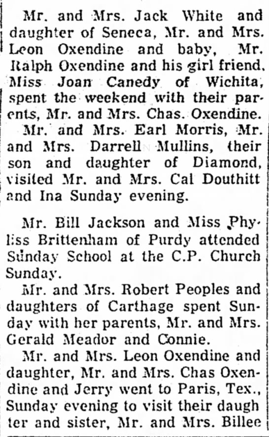 Berwick News in Neosho Paper - i 1 Mr. and Mrs. Jack White and daughter of...