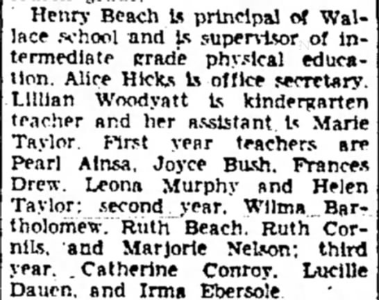 Catherine Conroy Aug 18, 1951 Sterling Daily Gazette - Henry Beach t* principal of Wallace Wallace...