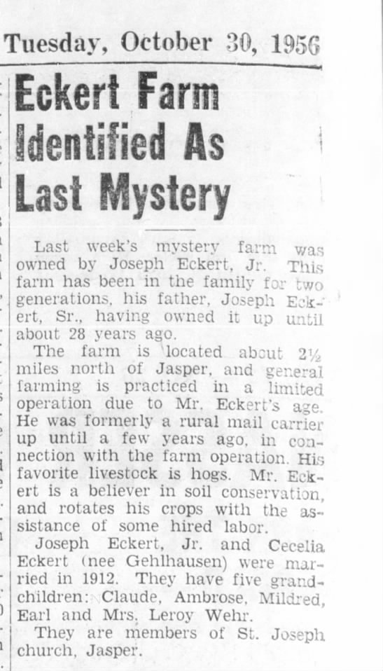 Eckert_Joseph_30oct1956 - Tuesday, October 80, 1956 Eckert Farm...