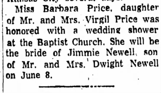 - Miss Barbara Price, daughter of Mr. and Mrs....