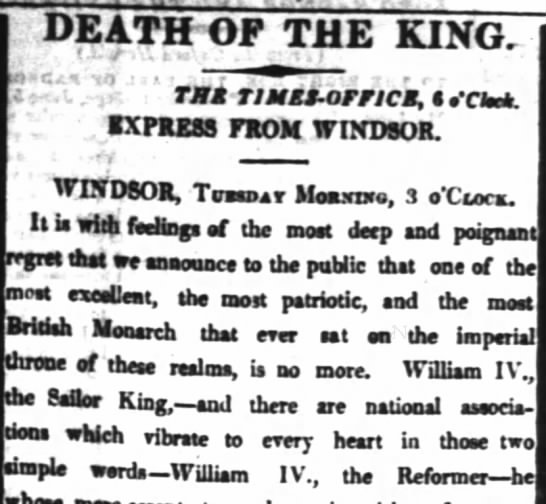 The death of William IV, King of England. - DEATH'OF THE KING. TX TIMEt - OMCS, te'Csmk....