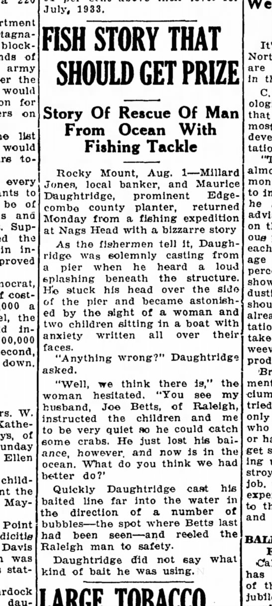 Fish Story - Statesville & Landmark (Statesville, NC) 2 August 1935 - stagnation block- of army the would for on liet...