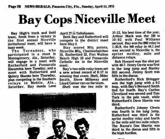 Track - 2 mile relay record - Page 2B NEWS-HERALD, Panama City, Fia., Sunday,...