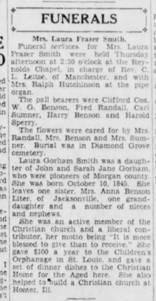 Daughter of John and Sarah Jane Gorham  - FUNERALS Mr\ I.aura I-rarer Snu'.h. Funeral...