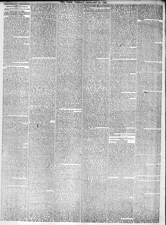 Defences of Canada, 21 Feb 1865 - the ' times, msbxi?mmmc,di. PARLIAMENTARY...