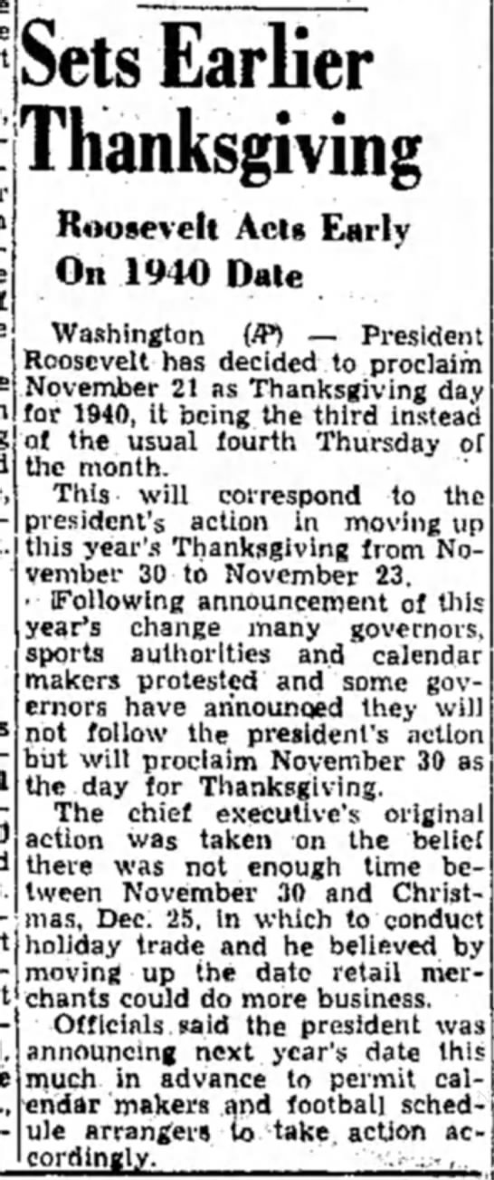 President schedules Thanksgiving for 1940 - 1 Sets Earlier Thanksgiving Roosevelt Acts...