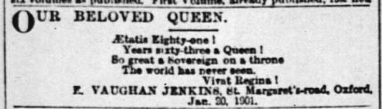 Poem about Victoria's reign - QUB BELOVED QUEEN. Italia Uantaria 1 Yaara anty...