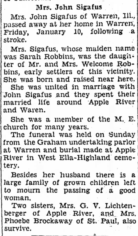 Freeport Journal-Standard, Freeport, Illinois - 14 January 1930, page 18 - Mrs. John Sigafus Mrs. John Sigafus of Warren,...