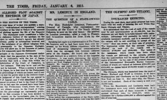 London Time Titanic insurance - THE TIMES, FRIDAY, JANUARY 6, 1911. ALLEGED...