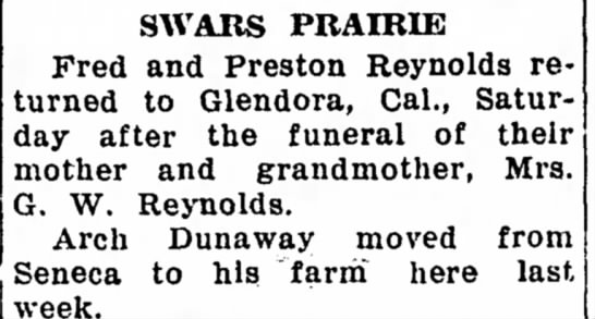 arch moved to his farm - SWARS PRAIRIE Fred and Preston Reynolds...