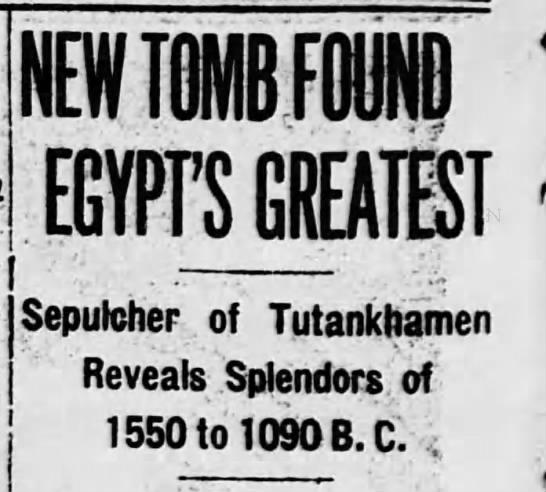 """New Tomb Found Egypt's Greatest"" - | 1 I I i I NEW TOMB FOUND EGYPrSGREATEST..."