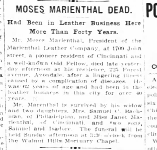- MOSES MARIENTHAL DEAD, j Had Been in Leather...