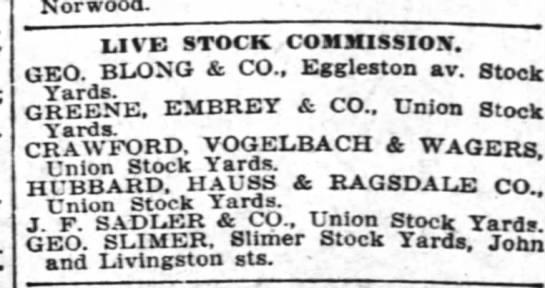 Livestock Commission - Norwood. LIVE STOCK COMMISSION. GEO. BLONG 4...
