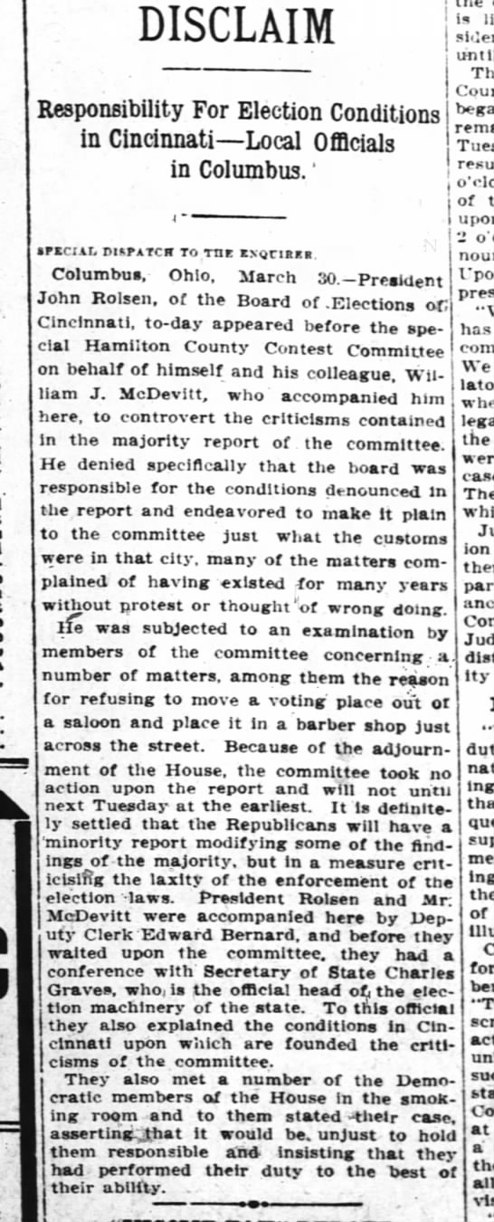 W J McDevitt contraversy regarding placement of polling stations 31Mar1911