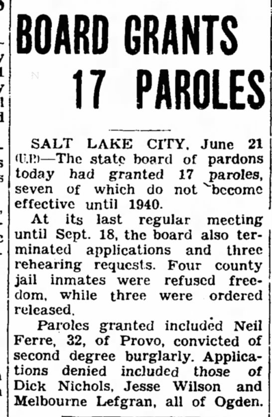 21 June 1939 - BOARD GRANTS 17 JAROLES SALT LAKE CITY. June 21...