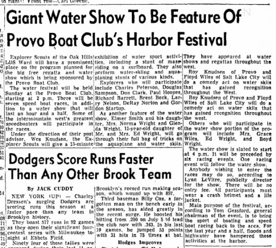 The Daily Herald (Provo, Utah) July 24 1953 page 5 - Giant Water Show To Be Feature Of Provo Boat...