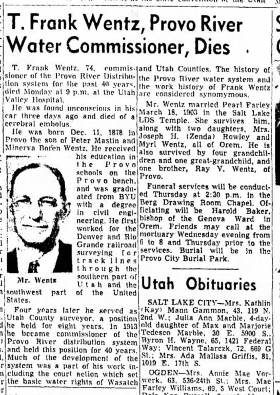 Frank Wentz Obituary 1953