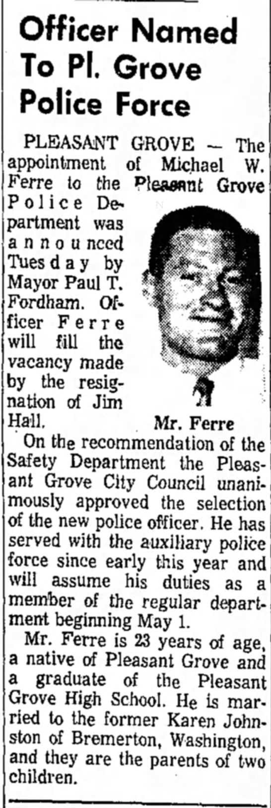 Michael W Ferre - Officer Named To PI. Grove Police Force...