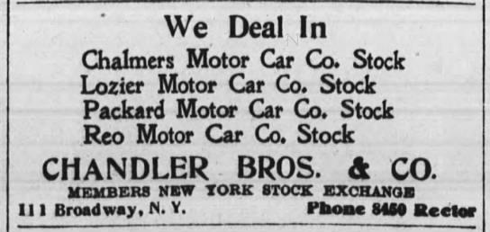 Lozier of Plattsburgh, New York - We Deal In Chalmers Motor Car Co. Stock '...