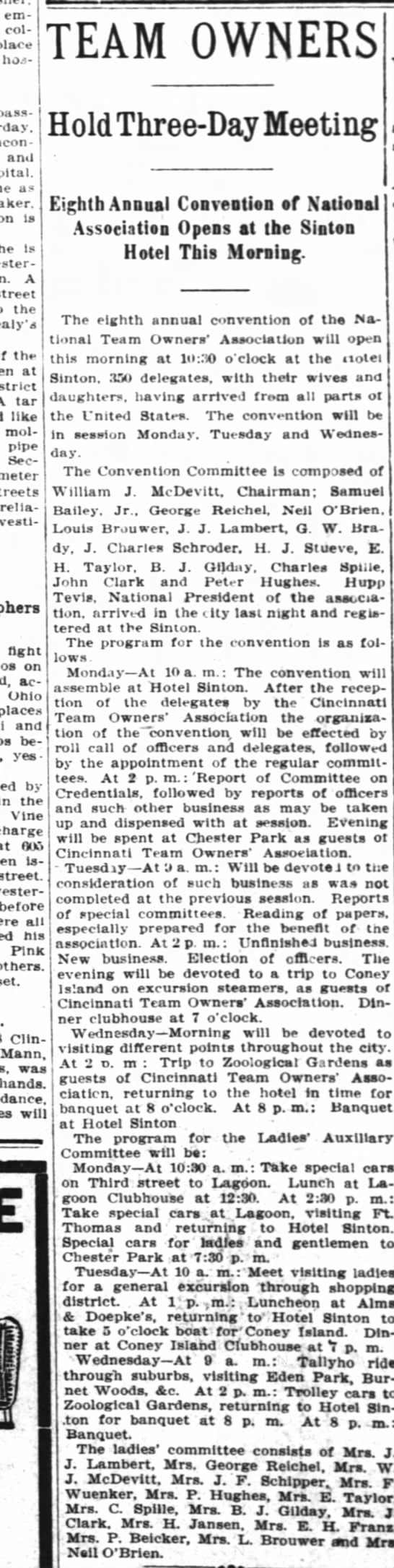 W J McDevitt chairman of National Team Owners Association 20 JUN1910 - employed col place hospital. passing and as...
