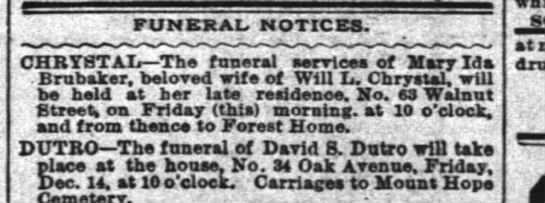 - FUNERAL. NOTICES. . CHRYSTAL The funeral see...