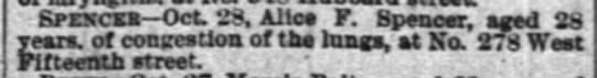 """Alice Spencer in the """"Deaths"""" column - Spekceb Oct 23, Alice F. Spencer, aged 28..."""