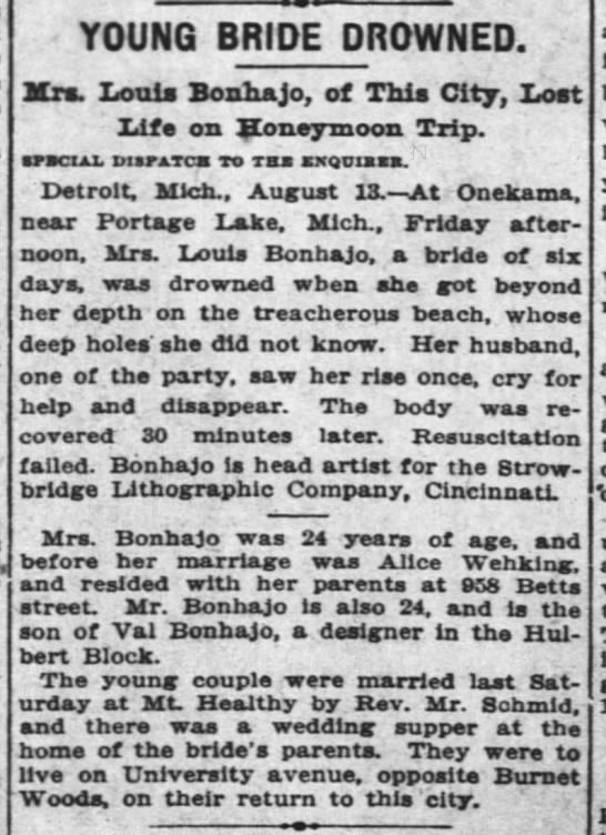 Alice Bonhajo drowned - YOUNG BRIDE DROWNED. Kra. Louis Bonhajo, of...